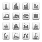 Κουμπιά Ιστού, εικονίδια οικοδόμησης Στοκ φωτογραφίες με δικαίωμα ελεύθερης χρήσης