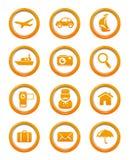 Κουμπιά Ιστού ταξιδιού και μεταφορών που τίθενται ελεύθερη απεικόνιση δικαιώματος