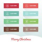 Κουμπιά Ιστού Χριστουγέννων με τα εικονίδια Στοκ Εικόνα