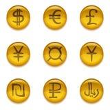 Κουμπιά με τα σημάδια νομίσματος, σύνολο Στοκ Εικόνα