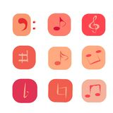 κουμπιά με τις σημειώσεις και μουσικά symphols στα χρώματα κοραλλιών διανυσματική απεικόνιση