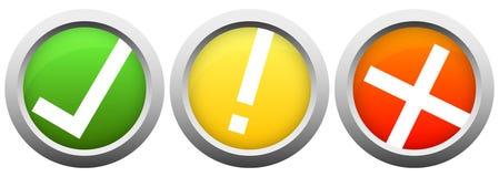 κουμπιά με το σημάδι και το σταυρό ελέγχου διανυσματική απεικόνιση