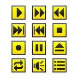Κουμπιά μουσικής (ύφος παιχνιδιών εικονοκυττάρου) Στοκ εικόνα με δικαίωμα ελεύθερης χρήσης