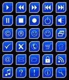 κουμπιά που τίθενται μπλ&epsi Στοκ Εικόνες