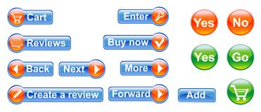 κουμπιά που τίθενται Στοκ Φωτογραφία