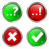 Κουμπιά σημαδιών ερώτησης, απάντησης και ελέγχου. Στοκ Εικόνες