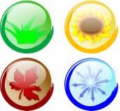 κουμπιά τέσσερις εποχές διανυσματική απεικόνιση