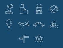 Κουμπιά ταξιδιού και μεταφορών που τίθενται διάνυσμα Στοκ εικόνες με δικαίωμα ελεύθερης χρήσης