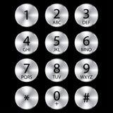 Κουμπιά τηλεφωνικών κύκλων αλουμινίου Στοκ Εικόνες
