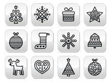 Κουμπιά Χριστουγέννων με το κτύπημα - χριστουγεννιάτικο δέντρο, παρόν, τάρανδος Στοκ Εικόνες