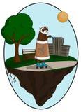 Κουνάβι που ντύνεται σε ένα φλυτζάνι καφέ και στους κυλίνδρους ελεύθερη απεικόνιση δικαιώματος