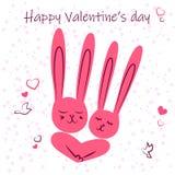 Κουνέλια ερωτευμένα Αστεία κουνέλια Enamored κατά μια ημερομηνία Ευχετήρια κάρτα για την ημέρα του βαλεντίνου του ST διανυσματική απεικόνιση
