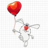 Κουνέλι κινούμενων σχεδίων με ένα μπαλόνι που επισύρεται την προσοχή στο ελεγμένο φύλλο Στοκ Εικόνες