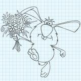 Κουνέλι κινούμενων σχεδίων με μια ανθοδέσμη των λουλουδιών που επισύρονται την προσοχή στο φύλλο σημειωματάριων Στοκ φωτογραφία με δικαίωμα ελεύθερης χρήσης