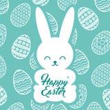 Κουνέλι σκιαγραφιών που κάθεται το ευτυχές υπόβαθρο αυγών Πάσχας ελεύθερη απεικόνιση δικαιώματος