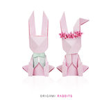 Κουνέλια ζευγών origami Πάσχας Στοκ εικόνες με δικαίωμα ελεύθερης χρήσης