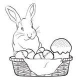 Κουνέλι, καλάθι, αυγά και κέικ Πάσχας επίσης corel σύρετε το διάνυσμα απεικόνισης Στοκ φωτογραφίες με δικαίωμα ελεύθερης χρήσης
