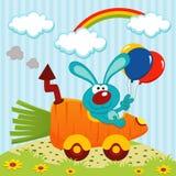 Κουνέλι με το αυτοκίνητο από τα καρότα απεικόνιση αποθεμάτων
