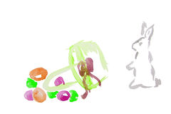 Κουνέλι Πάσχας Watercolor Στοκ Εικόνες