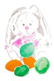 Κουνέλι Πάσχας Watercolor Στοκ φωτογραφία με δικαίωμα ελεύθερης χρήσης
