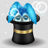 Κουνέλι στο μαγικό καπέλο Στοκ Εικόνες