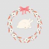 Κουνέλι ύπνου μέσα στο στεφάνι καρότων Στοκ εικόνα με δικαίωμα ελεύθερης χρήσης