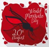Κουνούπι πέρα από το αίμα και τα παράσιτα για να τιμήσει την μνήμη της ημέρας παγκόσμιων κουνουπιών, διανυσματική απεικόνιση Στοκ Φωτογραφία