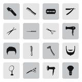 Κουρέας 16 απλά εικονίδια καθορισμένα Στοκ εικόνα με δικαίωμα ελεύθερης χρήσης