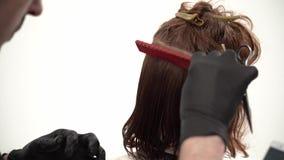 Κουρέας που κρατούν μια χτένα και ένα ψαλίδι perfoming ένα κούρεμα για έναν πελάτη πιπεροριζών απόθεμα βίντεο