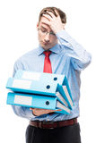 Κουρασμένος και ματαιωμένος κύριος λογιστής με τα έγγραφα στο repo Στοκ Εικόνα