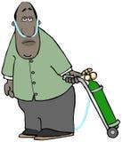 Κουρασμένο άτομο με το εμφύσημα που τραβά τη δεξαμενή οξυγόνου του ελεύθερη απεικόνιση δικαιώματος
