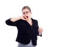 κουρασμένο επιχείρηση χασμουρητό γυναικών στοκ φωτογραφία
