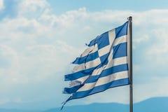 Κουρελιασμένη σημαία της Ελλάδας Στοκ Εικόνες
