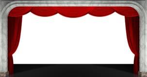Κουρτίνες που απομονώνονται κόκκινες τρισδιάστατος δώστε Στοκ Φωτογραφίες