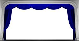 Κουρτίνες που απομονώνονται μπλε τρισδιάστατος δώστε Στοκ Εικόνες