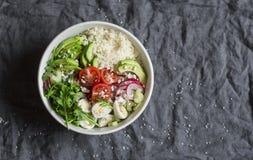 Κουσκούς και κύπελλο λαχανικών Υγιής, διατροφή, χορτοφάγος έννοια τροφίμων Τοπ όψη Στοκ Φωτογραφία