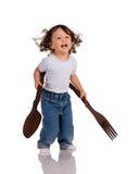 κουτάλι δικράνων παιδιών Στοκ εικόνες με δικαίωμα ελεύθερης χρήσης