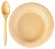 κουτάλι πιάτων ξύλινο Στοκ Εικόνες