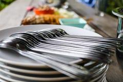 Κουτάλια και πιάτα Στοκ Εικόνες