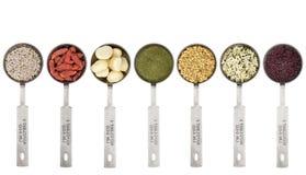 Κουτάλια σούπας του συνόλου superfood Στοκ Φωτογραφίες