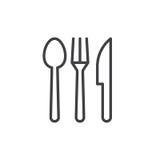 Κουτάλι, δίκρανο, μαχαίρι Εικονίδιο γραμμών μαχαιροπήρουνων ελεύθερη απεικόνιση δικαιώματος