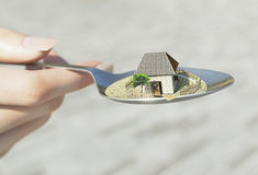Κουτάλι εκμετάλλευσης χεριών γυναικών με τη φωτογραφία επιχειρησιακής έννοιας ακίνητων περιουσιών σπιτιών εγγράφου Στοκ Εικόνα