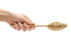 Κουτάλι εκμετάλλευσης χεριών γυναικών με τις οργανικές oatmeal νιφάδες Στοκ εικόνες με δικαίωμα ελεύθερης χρήσης