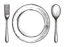 Κουτάλι δικράνων και ένα πιάτο του χέρι-σχεδιασμού Διανυσματική απεικόνιση μαχαιροπήρουνων ελεύθερη απεικόνιση δικαιώματος