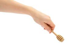Κουτάλι μελιού εκμετάλλευσης χεριών γυναικών Στοκ φωτογραφία με δικαίωμα ελεύθερης χρήσης