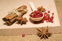 Κουτάλι, σιτάρια των anis πιπεριών, κανέλας και αστεριών σε μια ξύλινη κυματωγή Στοκ φωτογραφία με δικαίωμα ελεύθερης χρήσης