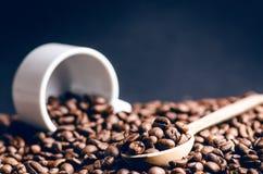 Κουτάλι των φασολιών καφέ Υπόβαθρο Ενέργεια καφές φασολιών ακατέργασ Κοκκιώδες προϊόν ποτό ζεστό κλείστε επάνω συγκομιδή Φυσική α Στοκ Φωτογραφία