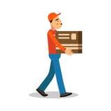 Κουτί από χαρτόνι εκμετάλλευσης και μεταφοράς ατόμων μετακινούμενων εργαζομένων, αγγελιαφόρος σε ομοιόμορφο στη διανυσματική απει Στοκ φωτογραφίες με δικαίωμα ελεύθερης χρήσης