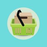 Κουτί από χαρτόνι και επίπεδο σχέδιο καλαθιών αγορών Στοκ φωτογραφία με δικαίωμα ελεύθερης χρήσης