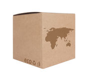 Κουτί από χαρτόνι με τον οικολογικό χάρτη EU+Asia εικονιδίων Στοκ φωτογραφία με δικαίωμα ελεύθερης χρήσης